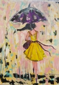 Bajo el paraguas 100x73 cm acrílico sobre lienzo