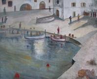 Embarcadero con figuras y barcas.