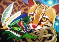 Jaguatirica e Borboleta verde
