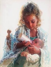 Maternidad sobre fondo blanco