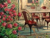 Mesa con sillas rojas