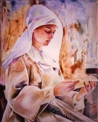 Monja leyendo una carta