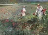 Mujeres en campo de flores