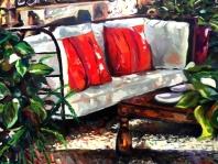 Sofa con cojines rojos