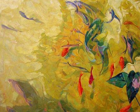 Estanque con peces jose barbera reguillo pintura for Pintura para estanques
