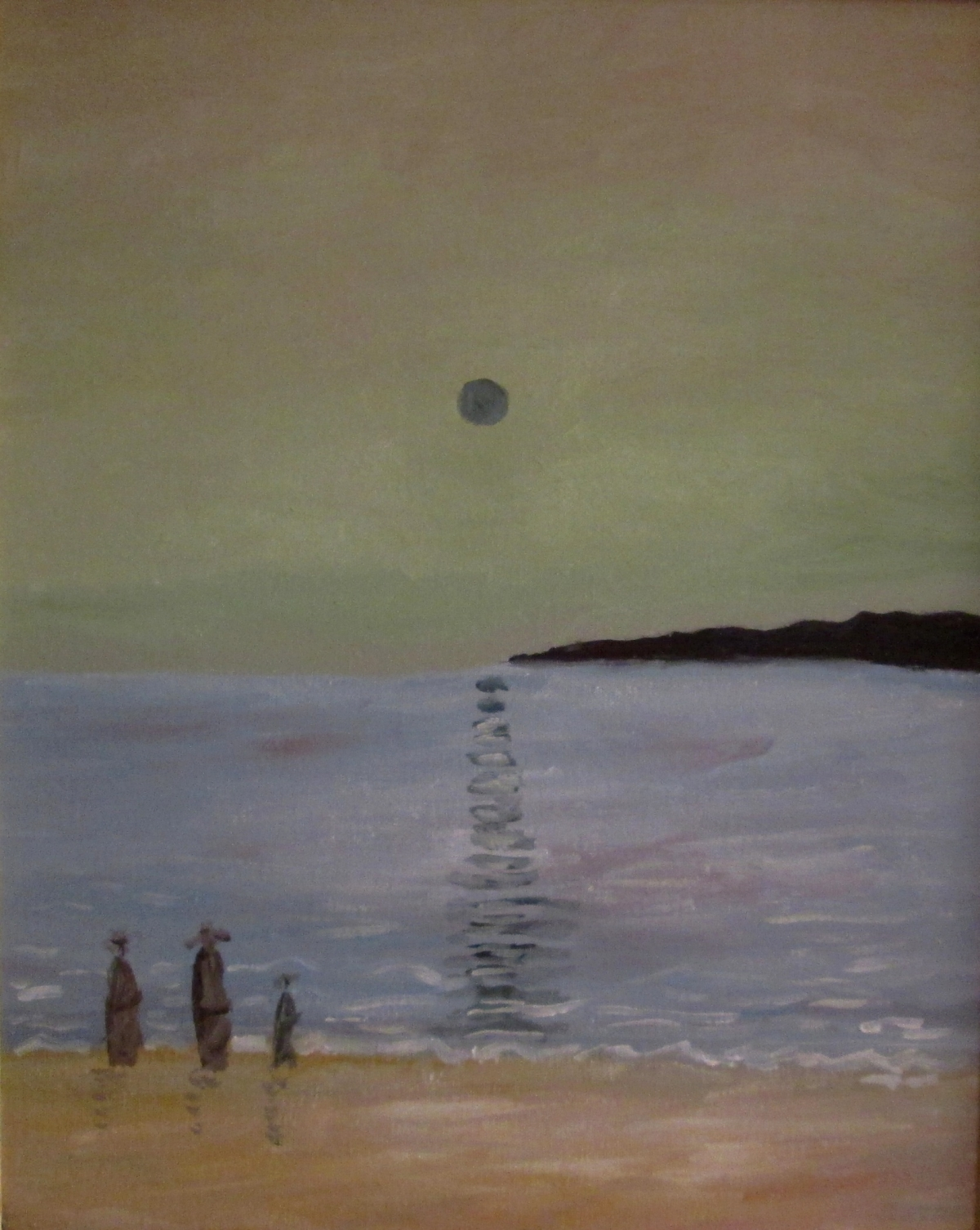 Figures walking on a beach.