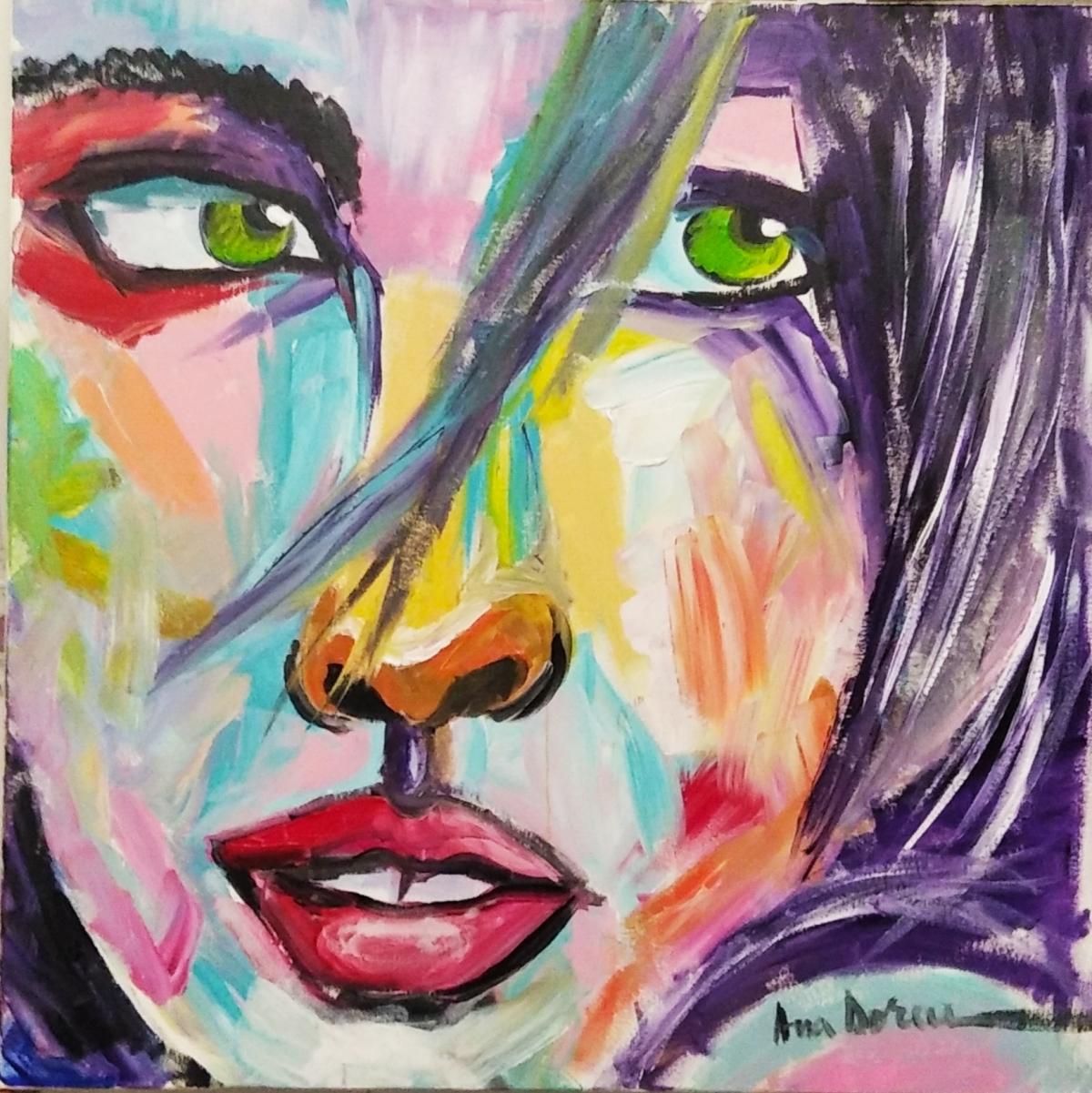 Ojos verdes acrílico sobre lienzo 70x70 cm