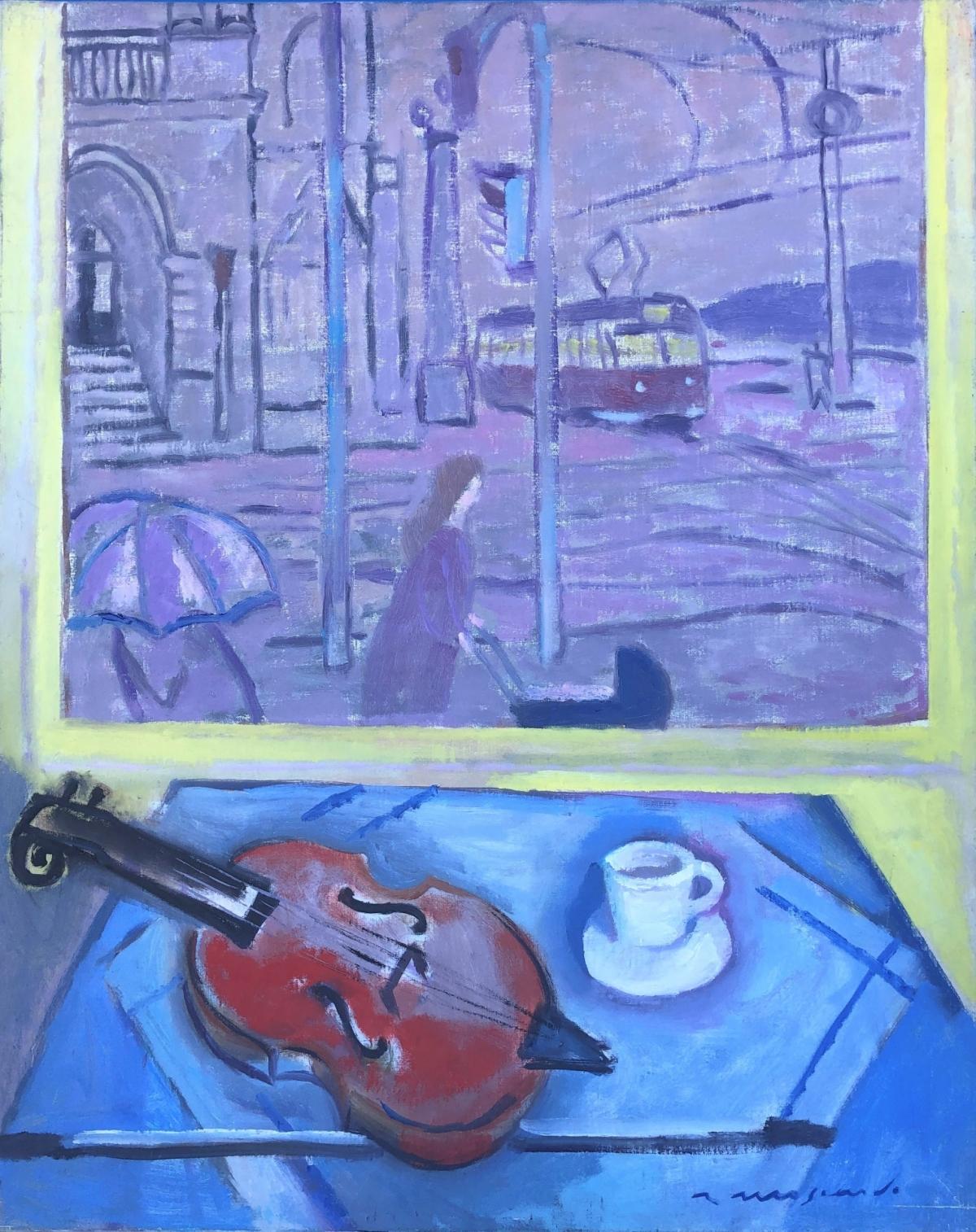 Vista de Praga y bodegón de violín